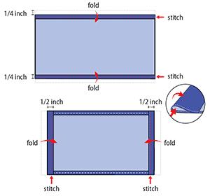 piegare e cucire le pieghe dei rettangoli di cotone